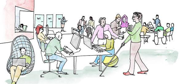 Illustration av en arbetsplats med UUA. Av Anneli Karlsson.