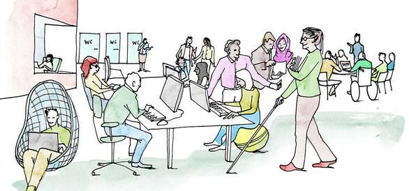 illustration människor på arbetsplats