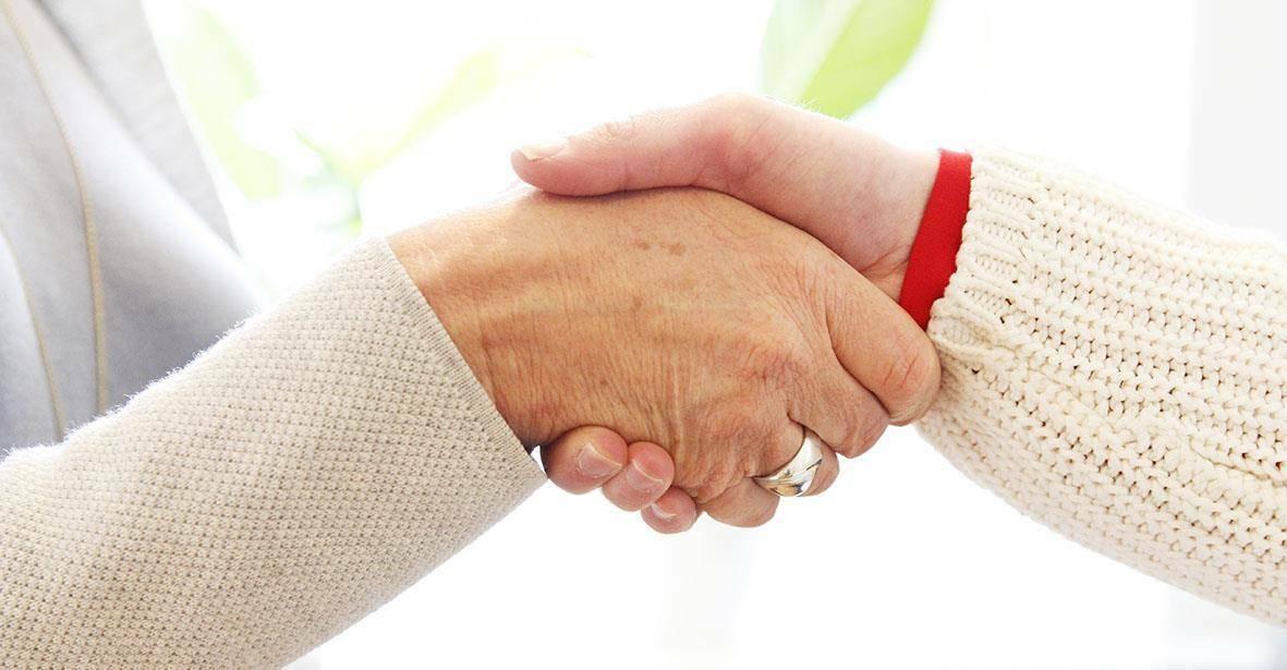 två skakar hand