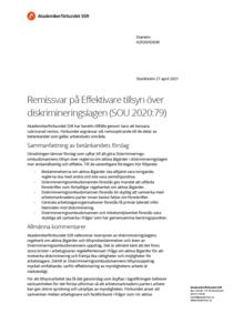 Remissvar på Effektivare tillsyn över diskrimineringslagen (SOU 2020:79)