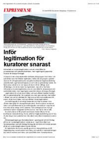 """Debattartikel: """"Inför Legitimation för kuratorer snarast!"""" Expressen 7/4-15"""