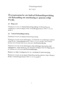 Överenskommelse om ändrad förhandlingsordning vid förhandling om omräkning av pension enligt PA-KL 2017