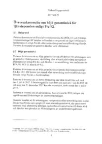 Överenskommelse om höjd garantinivå för tjänstepension enligt PA-KL 2017