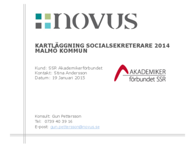 2015-01-19 Novus: Kartläggning socialsekreterare Malmö stad