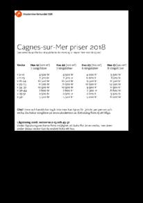 Prislista Cagnes-sur-Mer 2018