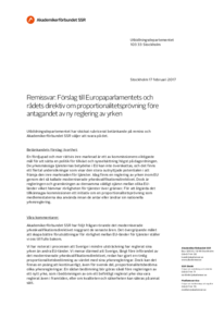 2017-02-17 Förslag till Europaparlamentets och rådets direktiv om proportionalitetsprövning före antagandet av ny reglering av yrken