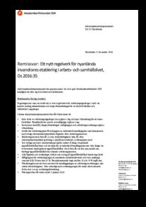 2016-12-15 Ett nytt regelverk för nyanlända invandrares etablering i arbets- och samhällslivet, Ds 2016:35