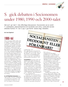 Så gick debatten i Socionomen 1987-2007
