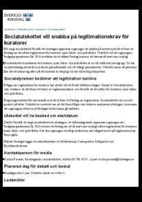 Pressmeddelande: Socialutskottet vill snabba på legitimationskrav för kuratorer - riksdagen (150528)